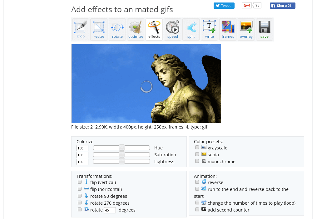 Add effects to animated gifs
